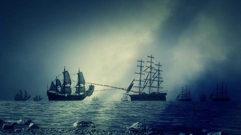 Naval Sea Battle Between Two Navy Fleets of Sailing Ships Shooting Each Other Footage