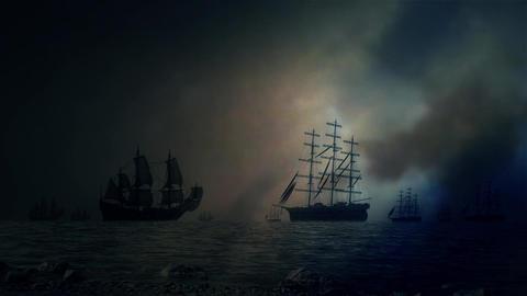 Sea Battle Between Two Fleet of Sailing Ships Under a Lightning Storm Footage