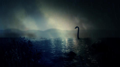 The Loch Ness Monster Swimming in the Lake Under a Storm Footage