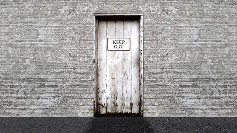 Keep Out Sign on a Door Open to a Blue Screen Background Live Action