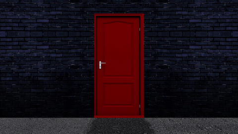 Red Door Open to a Green Screen Background Live Action