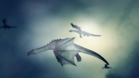 Dragons Flying in the Sky Against the Wind Footage