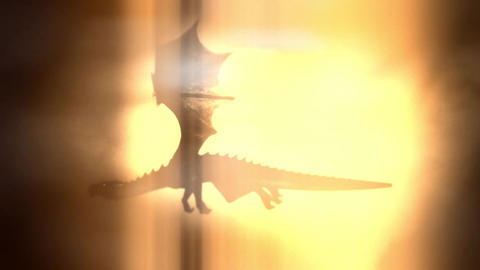 Dragon Flying High in the Sky on a Bright Sunny Background Footage