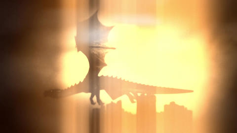 Dragon Flying in the Sky on a Sun and a Castle Background Footage