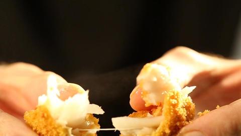 Braking a Crispy Hot Fish Finger Footage