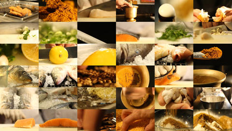 Montage of Preparing a Fish and Herb Meal Footage