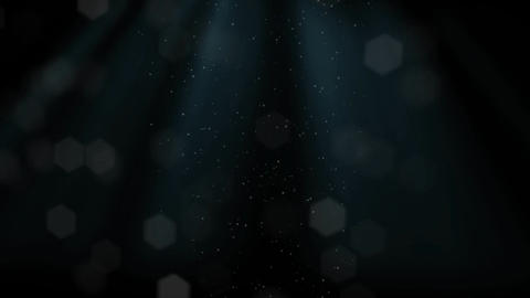Ray of Lights Shine on Hexagon Particle Dust shape on a Black Background Live Action