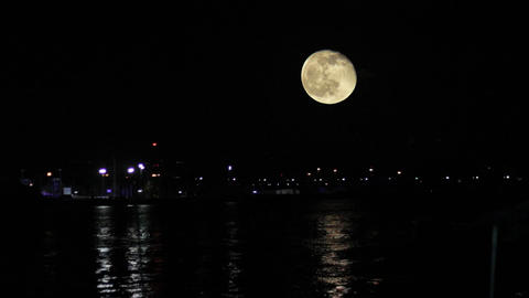 Moon Above Harbor Reflect Light on the Sea Water Footage