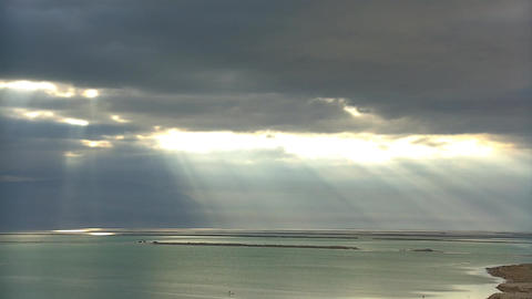 Dead Sea Cloudy Sky and Rays of light Footage