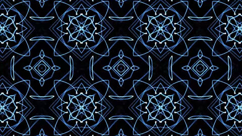 Beautiful and Unique Psychedelic Kaleidoscope of Blue Electric Patterns Footage