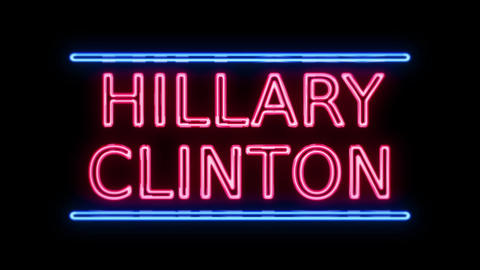 American Election Hillary Clinton Sign Neon Sign in Retro Style Turning On Live Action