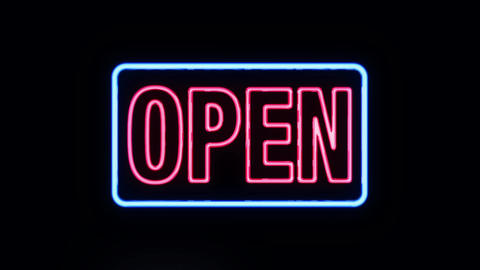 Classic Red and Blue Open in Neon Lights Turning on Footage