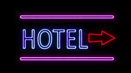 Hotel and Arrow in Neon Style Lighting Up Footage