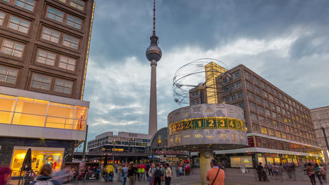 BERLIN, GERMANY - MAY,2019: Timelapse view of the World clock in Alexanderplatz Live Action