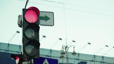 Traffic light on the road during the day. Close-up. Kyiv. Ukraine Live Action