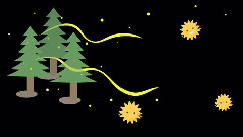 an animation of cedar pollen scattering (transparent background) Animation