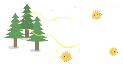 an animation of cedar pollen scattering (white background) Animation