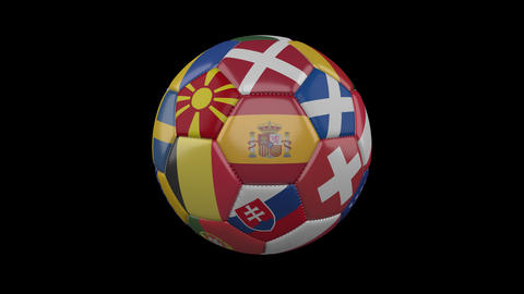 Europe flags on soccer ball rotating on transparent, 4k footage with alpha, loop Animation