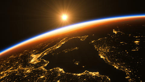 Sunrise In Space. Amazing Night View On European Zone Of Planet Earth GIF