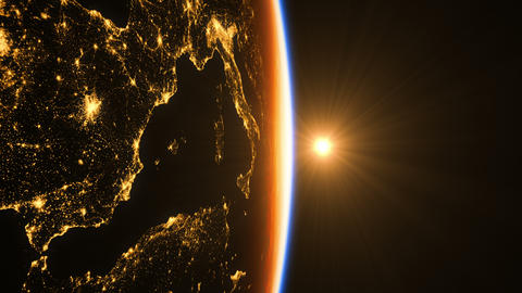 Sunrise In Space. Amazing Night View On European Zone GIF