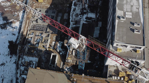 Top view of a construction crane at a construction site in the city center of Live Action