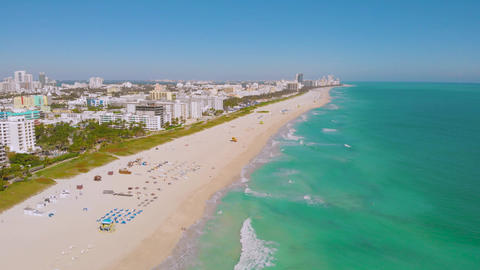 Panoramic view of South Beach, Miami Beach, 4k Live Action