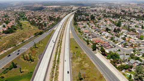 Aerial view of highway with vehicle movement. California, USA Live Action