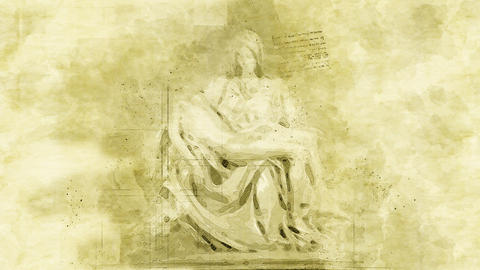 4K Michelangelo Pieta Marble Statue Vintage Artwork Animation