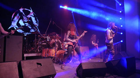 Voronezh, Russia - April 18t 2019: Concert rock band on stage with frontman Live Action