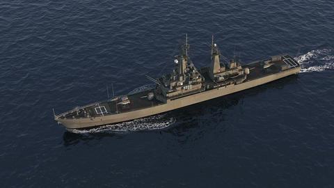 American Modern Warship In The High Seas Animation
