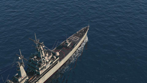 American Modern Warship In The High Seas. Top View GIF