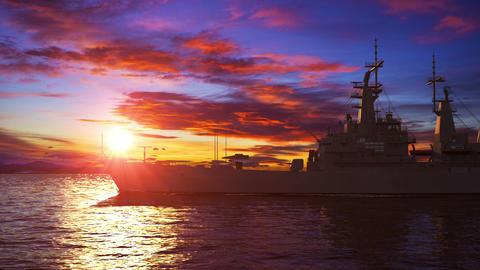 American Modern Warship On The Background Of Sunset Animation
