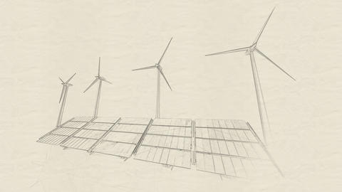 4K Solar Panels and Wind Turbines Green Energy Engineer Concept Sketch Animation