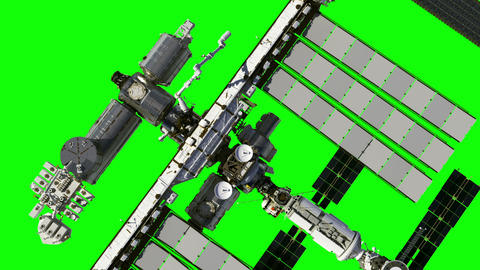 Flight Of The International Space Station. Green Screen GIF