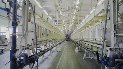 Production of ceramics, view of ceramic products sinks and toilets, conveyor Live Action