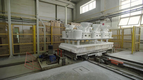 Production of ceramics, view of ceramic products sinks and toilets Live Action