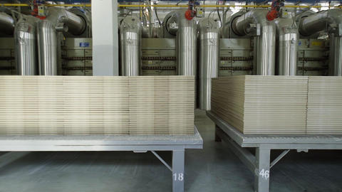 Ceramic tile plant, blanking and piercing of ceramic tiles, production of Live Action
