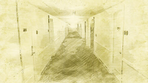 4K Scary Hotel Corridor Vintage Artwork Animation