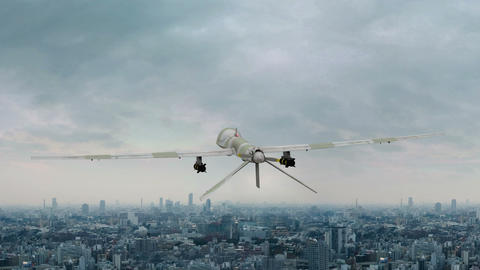 Military Drone Flies Over the City Animation Live Action