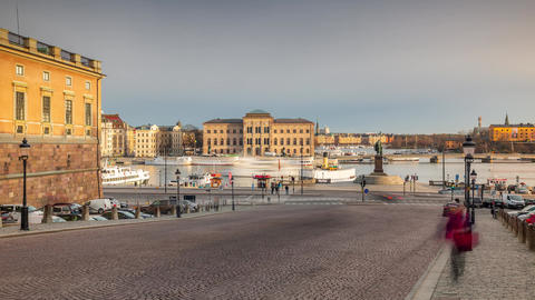 STOCKHOLM, SWEDEN - FEBRUARY,2020: Timelapse of city famous place in old town in Live Action
