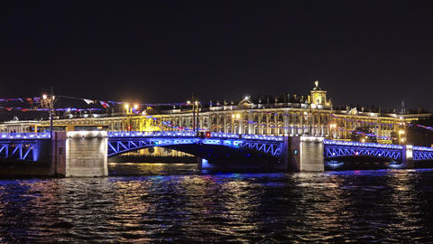 Palace bridge and Winter Palace in St. Petersburg Live Action