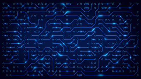 Abstract electronic blue circuit board background. Artificial intelligence Animation