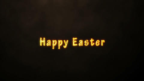 Happy Easter Golden Text Black Background. Jesus Christ Animation