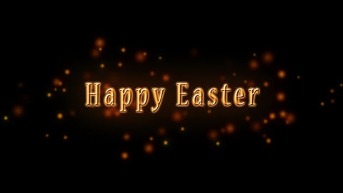 Happy Easter Golden Text and Glittering Particles against Black Background. Jesus Christ Animation