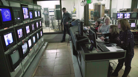 Monitor monitors in a TV studio during TV recording. Control room Live Action