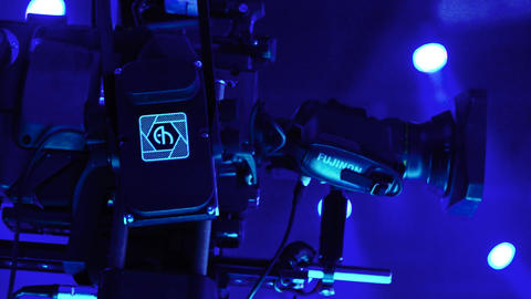 Camera in tv studio during tv recording Live Action