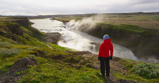Waterfall Gullfoss on Iceland in Icelandic nature on Golden Circle - tourist Live Action