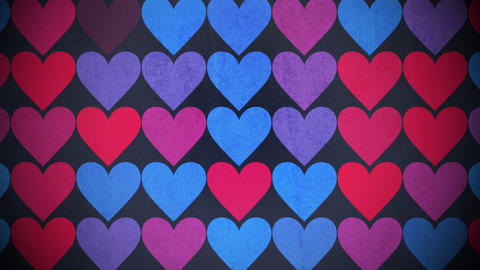 Motion colorful hearts pattern, abstract background CG動画