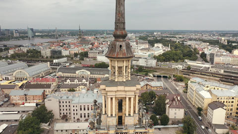 RIGA, LATVIA - MAY, 2019: Aerial drone view of the tower of the Latvian Academy Live Action