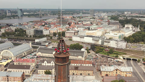 RIGA, LATVIA - MAY, 2019: Aerial view of the spire of the Academy of Sciences Live Action